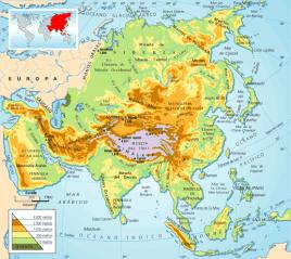 Mapa Físico del continente Asiático