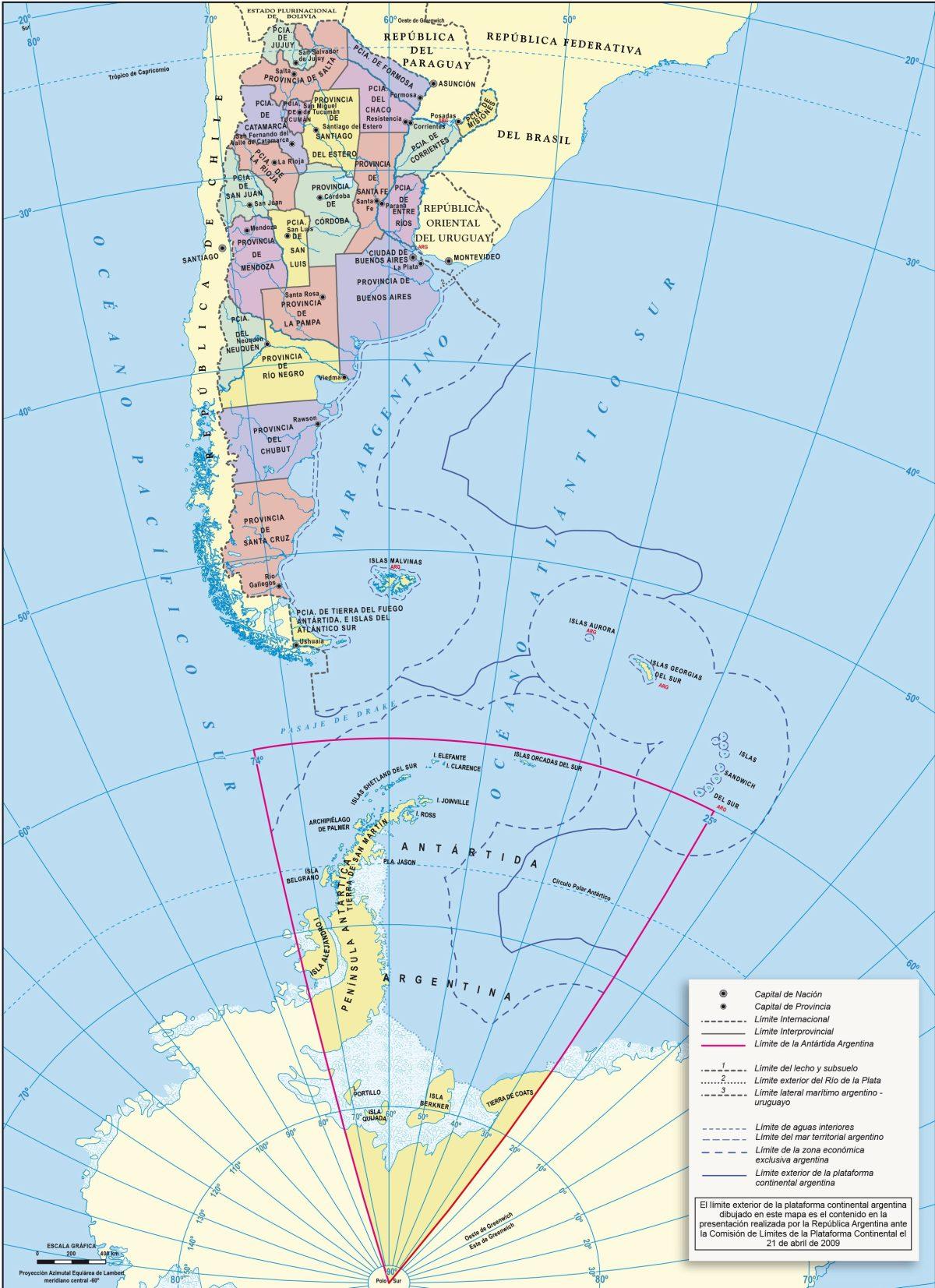 Mapa Bicontinental de la República Argentina. Elaboración IGN.