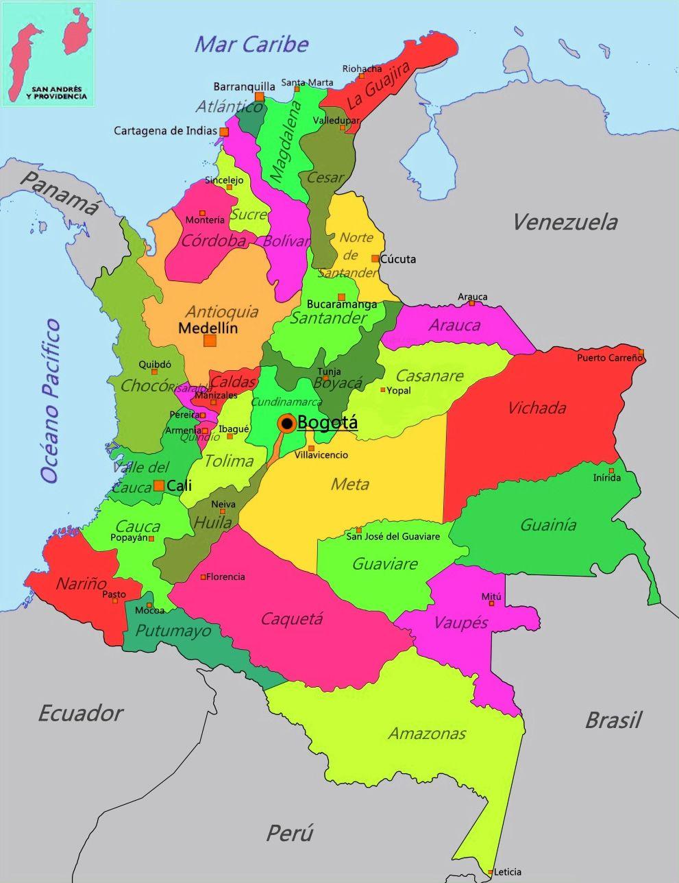 Mapa de Colombia con su división política.
