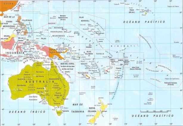 Mapa político del continente Oceánico.