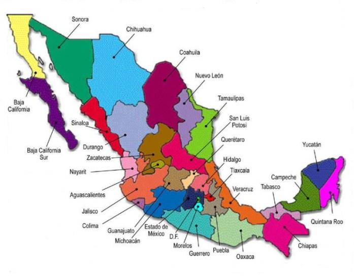 Ubicación de las entidades federativas de México.