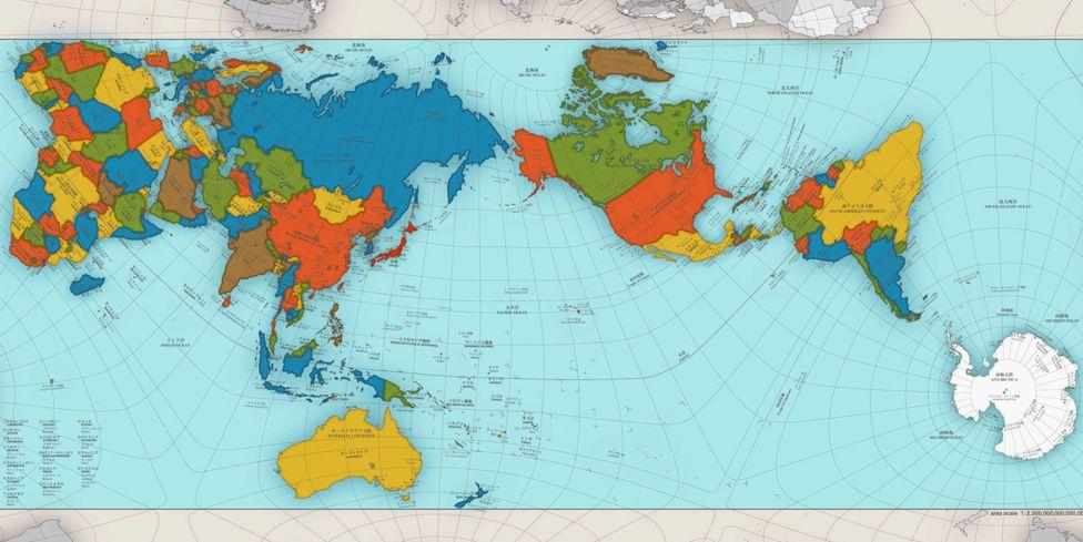 Mapa diseñado por el arquitecto japonés Narukawa, que refleja fielmente las proporciones entre los diferentes países y regiones del mundo.