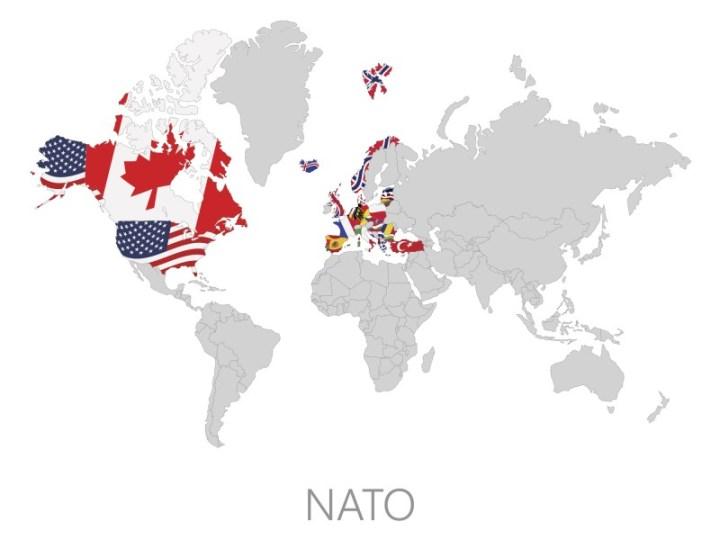 Mapa de los Países que forman parte de la OTAN.