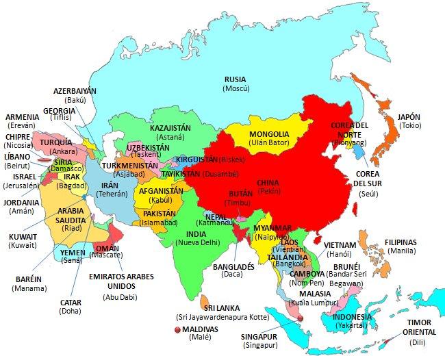 Mapa de Asia países y capitales