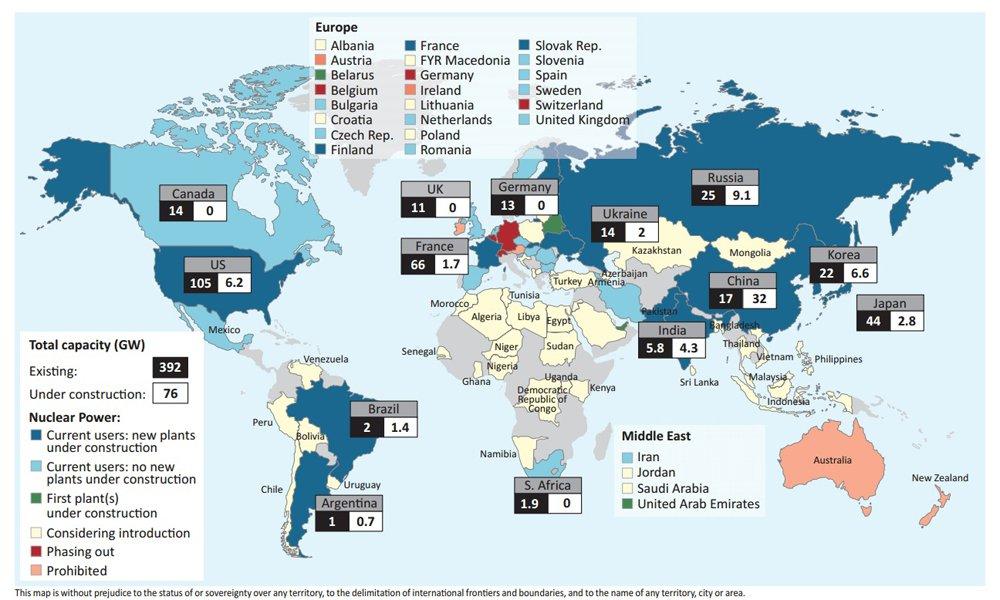 cantidad de centrales nucleares país por páís mapa detallado