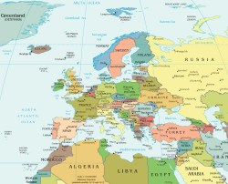 División política del continente europeo.