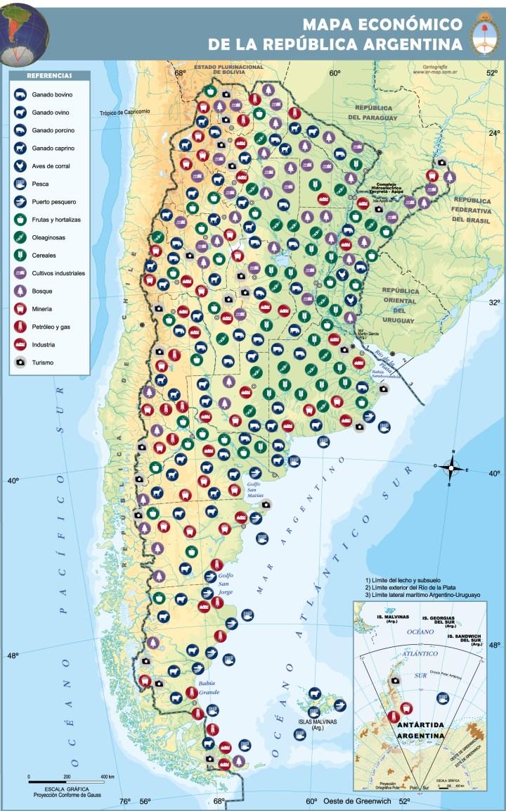 mapa de desarrollo económico, actividades de la economía y economías regionales de la argentina