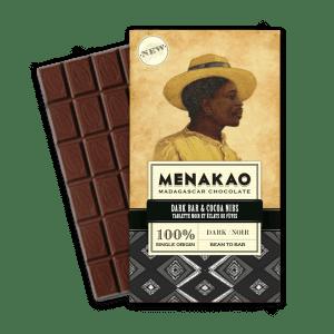 Menako chocolat noir 100 tablette noir et eclats de feves - Epices Mille Saveurs