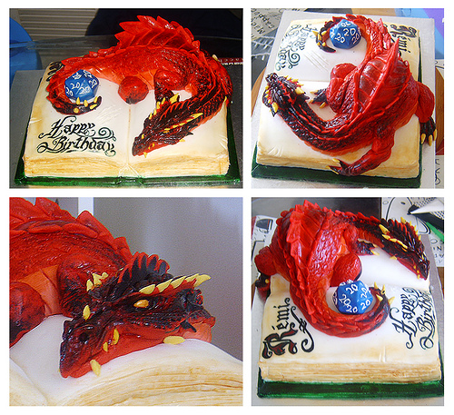 Baby or Pseudo-Dragon Cake edible D20 on a book