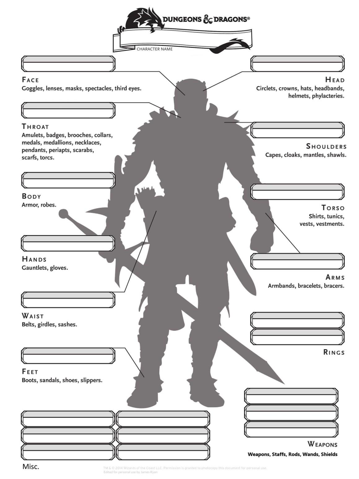 D Amp D 5e Alternate Character Sheets