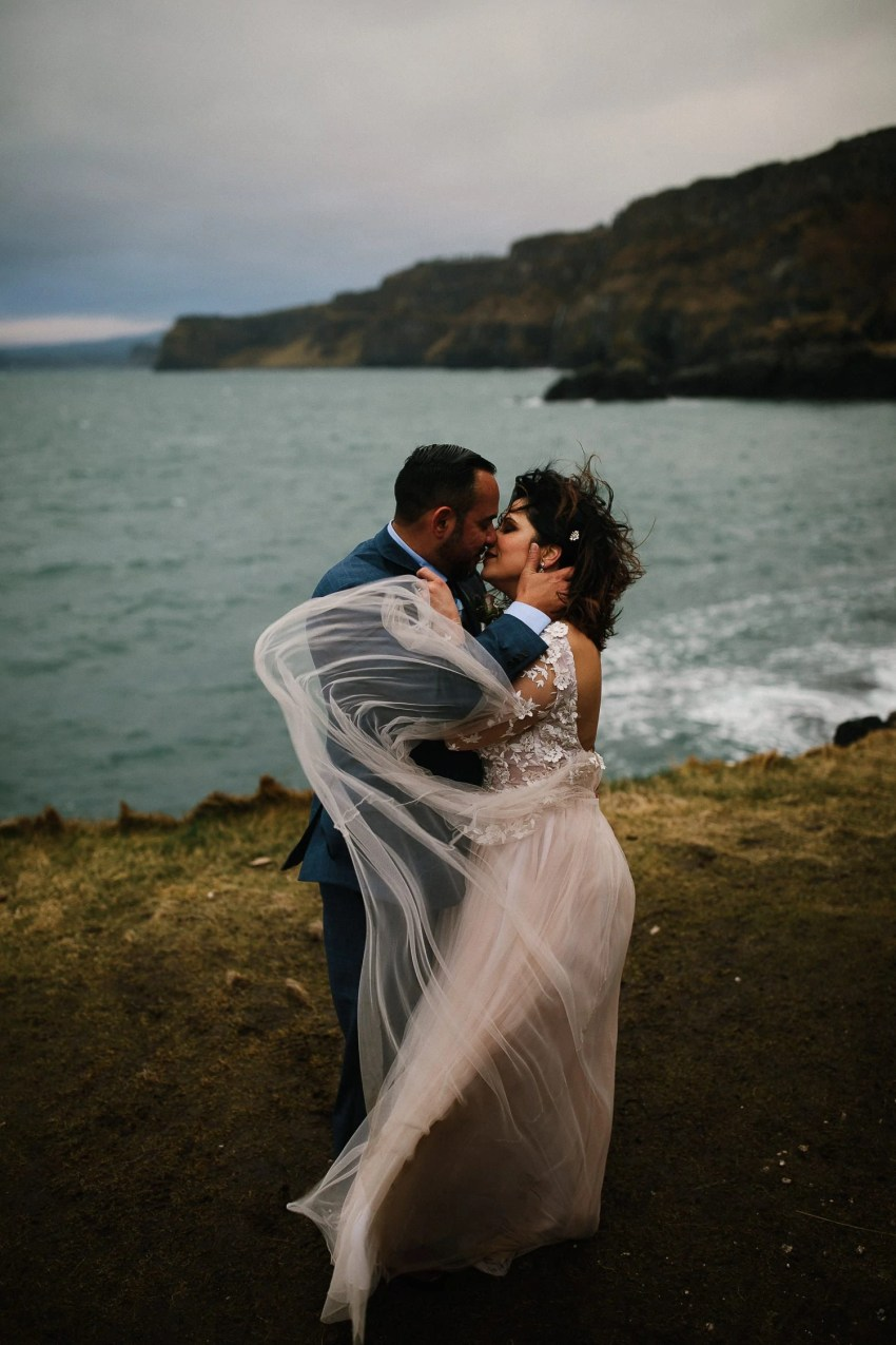 Northern Ireland Adventure elopement Dunluce castle