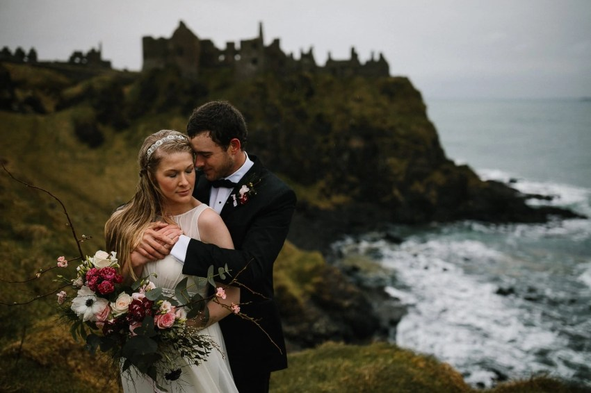 Northern Ireland Adventure elopement Dunluce castle