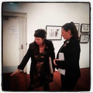 Engaging with the possibilities of wall-based installations with Marion Conrow (L) and Northern Rivers Gallery, Ballina Director Lee Mathers, August 12, 2016