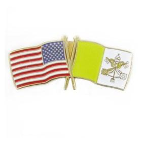 American & Vatican flag pin
