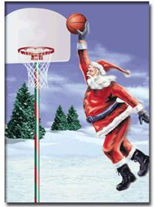 Basketball Santa Dunk Greeting Cards Gifts Basketball