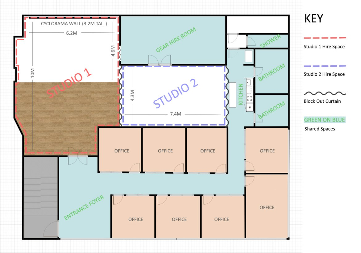 Photography studio floor plan 2d