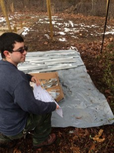 Mike helping build the Palram Mythos Greenhouse
