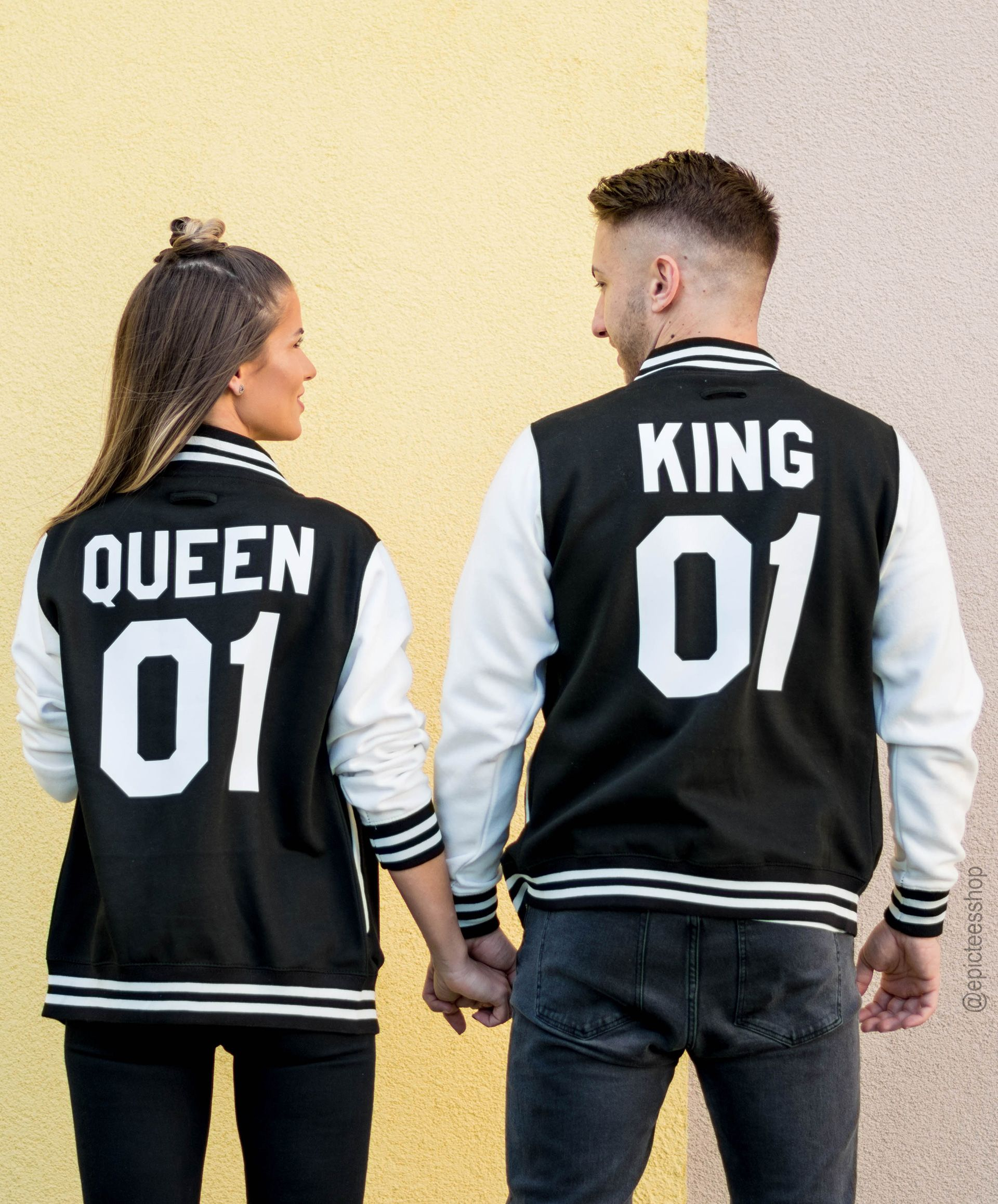 King 01 Queen 01 Varsity Jackets Matching Couples UNISEX