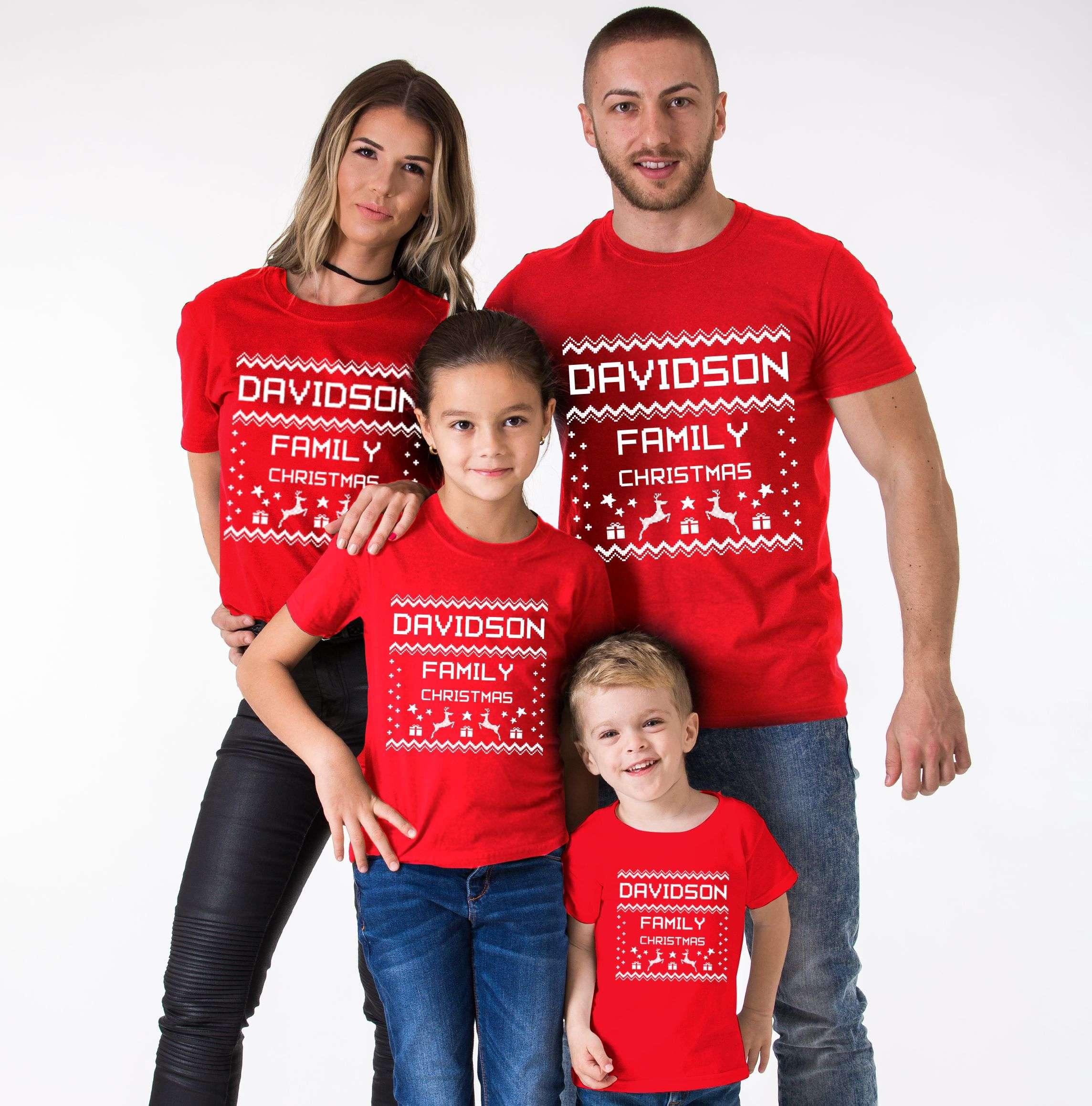 Ugly Christmas Family Shirt Custom Name Christmas Family