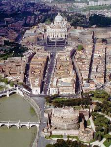 An aerial view of the Vatican,