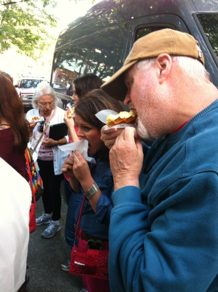 "Our tour group enjoying the ""gaufres""."
