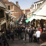 Crossing the Rialto Bridge