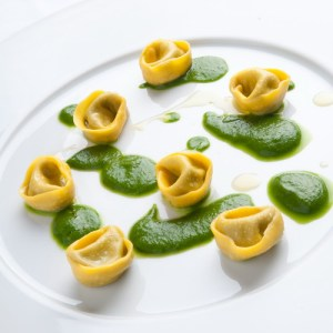 Parini's Tortelli stuffed with mussels and topped with a lettuce sauce