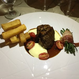Fine dining at the Wilhemina Restaurant. The ever-present Aruban French fries were crisp, hot, well-paired with the filet.