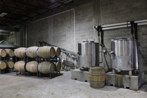 The oak barrels used for aging the wine at Quantum Leap.