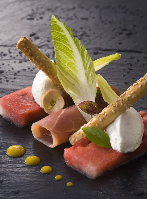 One of the restaurant's signature appetizers, this dish features local watermelon, goat cheese and Serrano ham