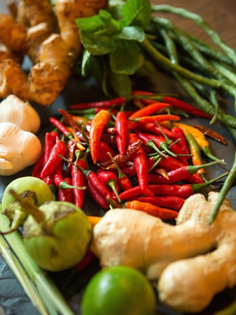 Ingredients of Bida Manda Laotian Restaurant and Bar in Raleigh NC.