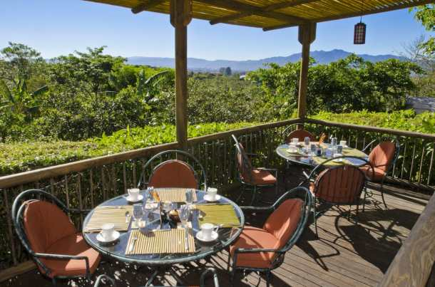 Restaurant Terrace at Finca Rosa Blanca Coffee Plantation and Inn, Costa Rica.