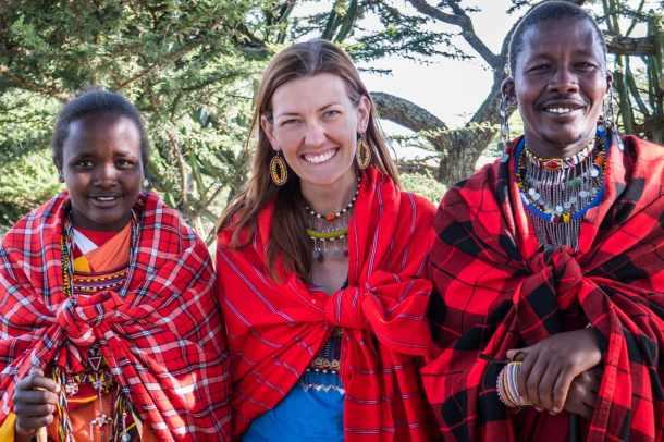 Learning about Maasai culture at Maji Moto in Kenya