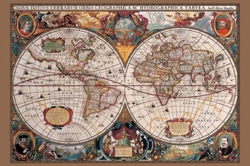 17th century world map poster print epicure culture epicure travel map gumiabroncs Choice Image