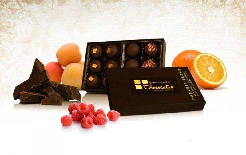 Holiday blend of wine truffles. Photo courtesy of Wine Country Chocolates.