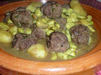 Tajine kefta aux fèves et pommes de terre