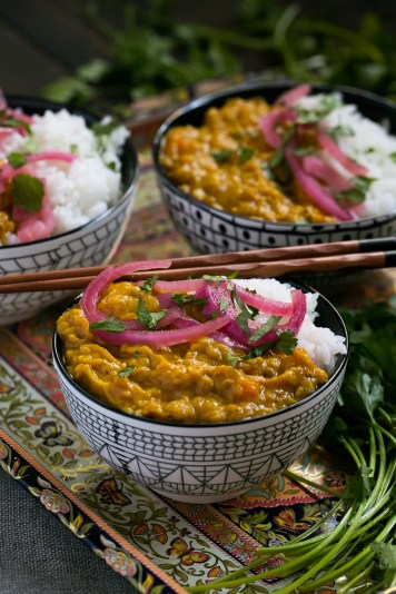 Plated bowl of curry topped with cilantro and onion