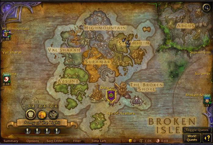 Broken Isles Map world of warcraft