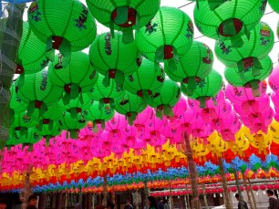 Lanterns hung up in preparation for the celebration of Buddha's arrival