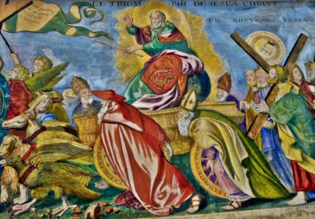 Le char du triomphe tiré par les quatre évangélistes