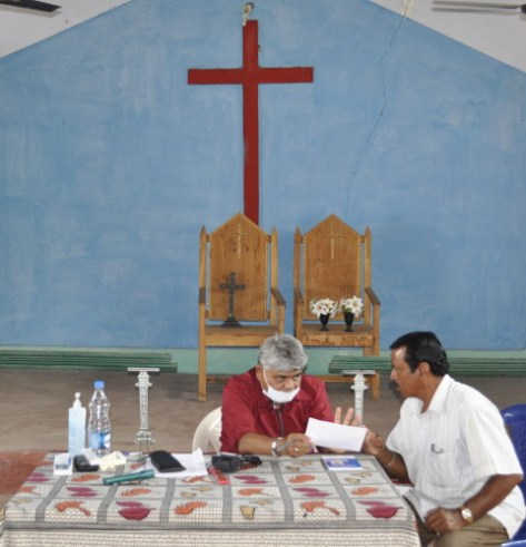 A church offers its space for Dr. Babbili to host a clinic.
