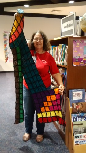 Yvonne Lacy with her periodic table scarf.