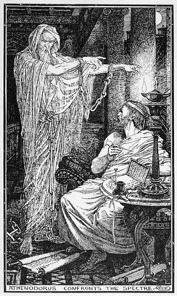 The Greek Stoic philosopher Athenodorus rents a haunted house. (Drawing by Henry Justice Ford, circa 1900)
