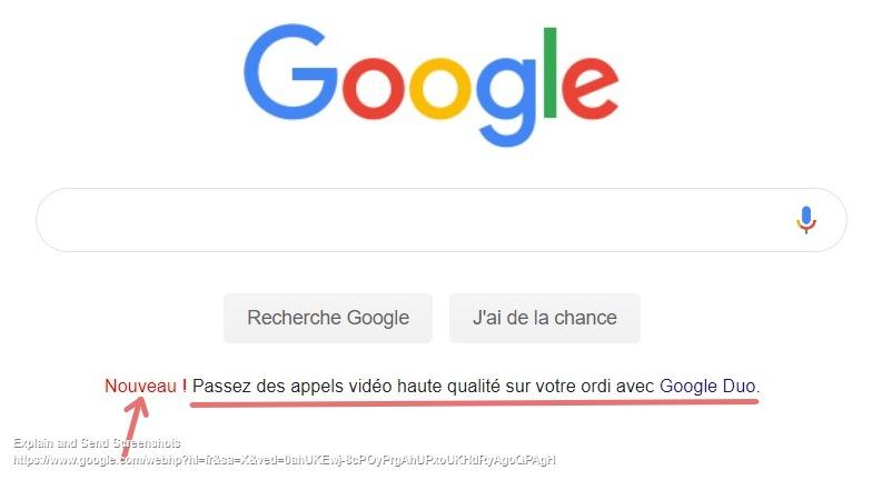Capture d'écran de la page d'accueil de Google annonçant la disponibilité des appels vidéos HD avec Google Duo.