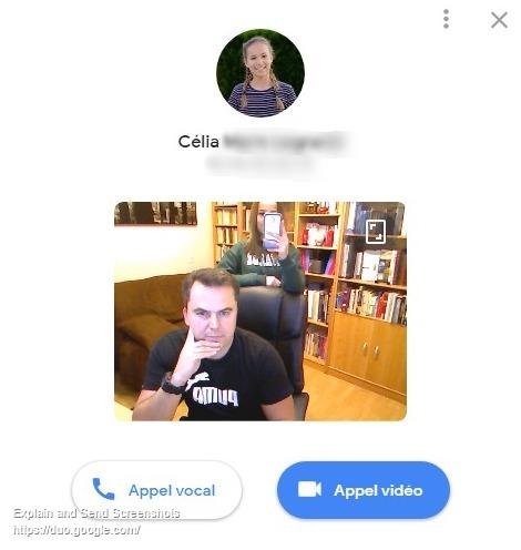 Capture d'écran de la fen^tre d'appel vidéo Google Duo.