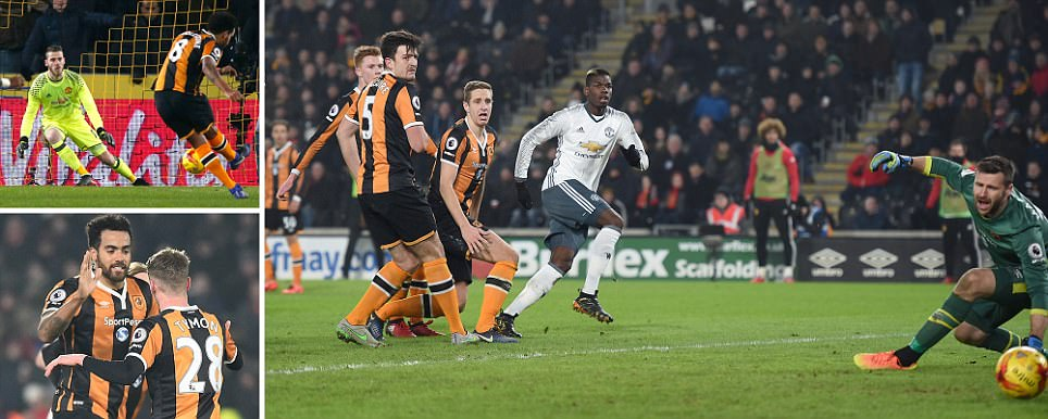 Hull City 2-1 Manchester United (2-3 agg)