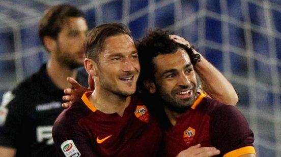 Salah with Totti