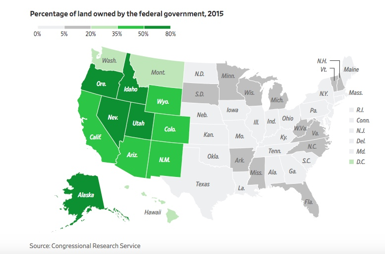 Map - USG Land Ownership by State - WSJ - 2018-03-31