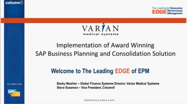 Varian Medical Systems Partners with Column5 to Help Implement Award Winning SAP Business Planning and Consolidation (BPC) Solution