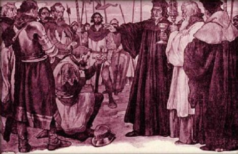 Čeněk z Vartenberka (klečící) možná byl příbuzným Jiříkovy matky.